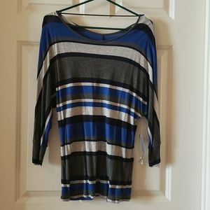 NEW!! Blue, grey striped tunic top